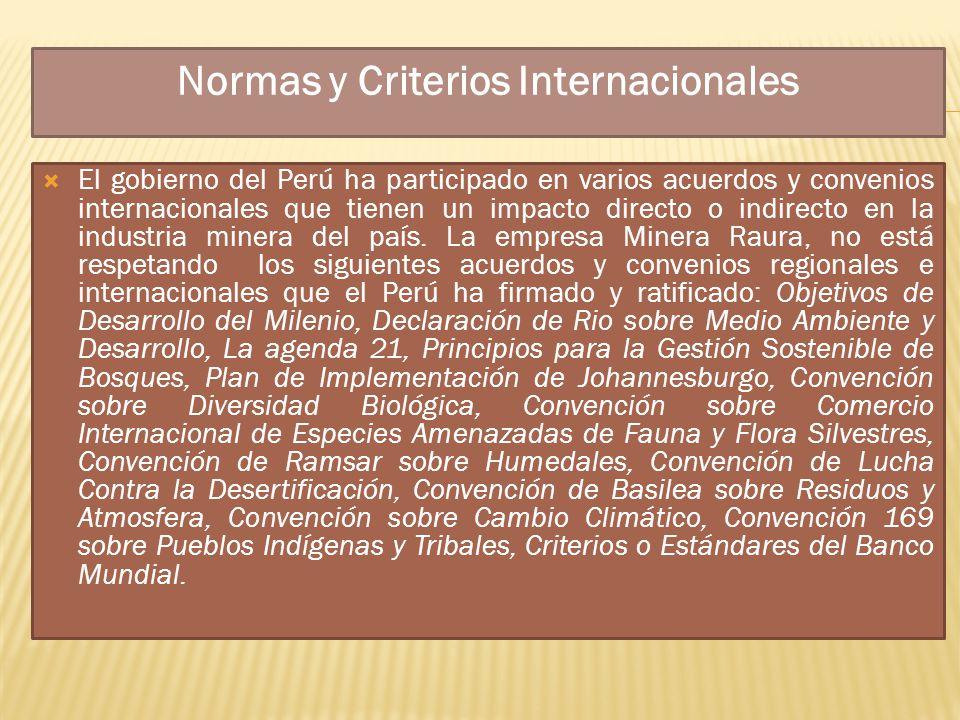 Normas y Criterios Internacionales El gobierno del Perú ha participado en varios acuerdos y convenios internacionales que tienen un impacto directo o