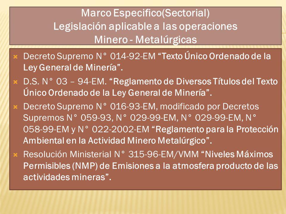 Marco Especifico(Sectorial) Legislación aplicable a las operaciones Minero - Metalúrgicas Decreto Supremo N° 014-92-EM Texto Único Ordenado de la Ley
