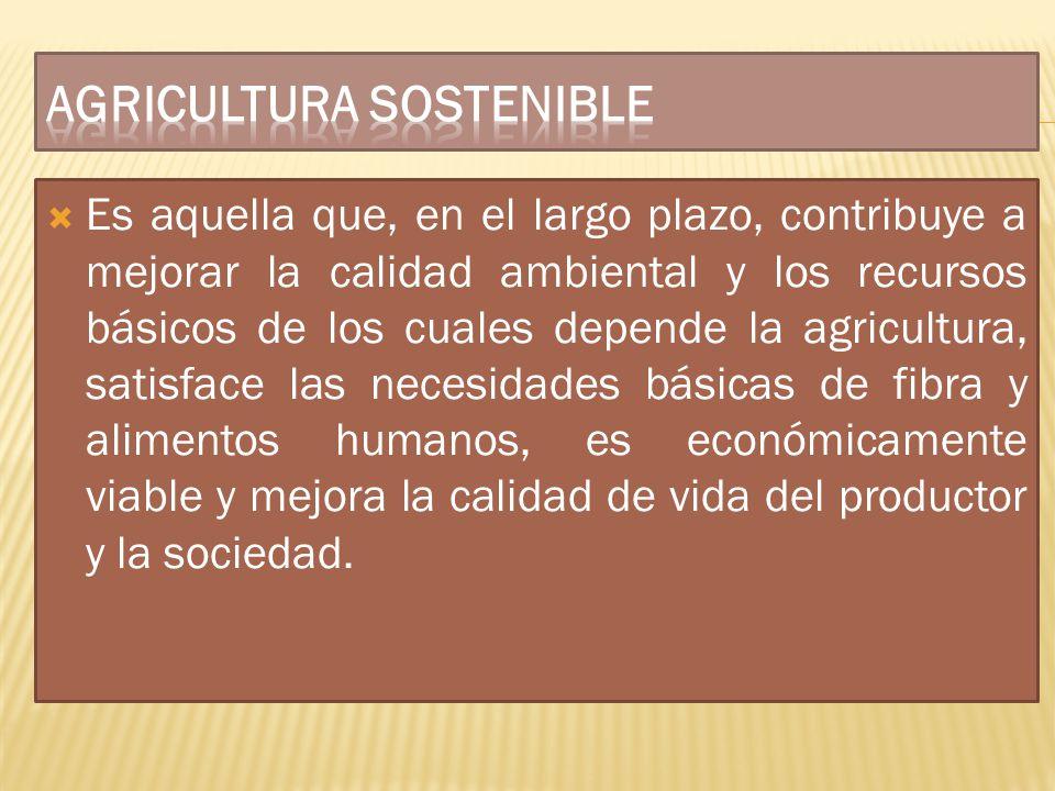 Es aquella que, en el largo plazo, contribuye a mejorar la calidad ambiental y los recursos básicos de los cuales depende la agricultura, satisface la