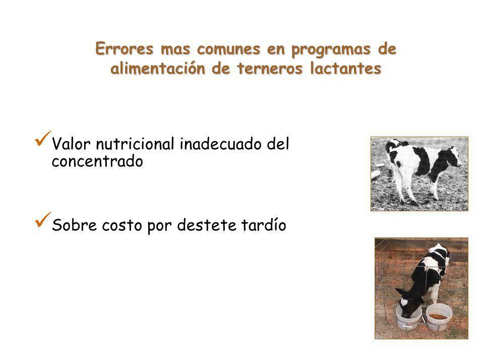 Valor nutricional inadecuado del concentrado Sobre costo por destete tardío Errores mas comunes en programas de alimentación de terneros lactantes