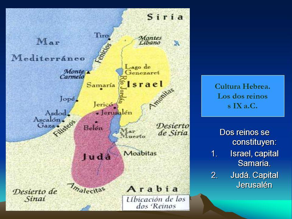 Cultura Hebrea.Los dos reinos s IX a.C. Dos reinos se constituyen: 1.Israel, capital Samaria.