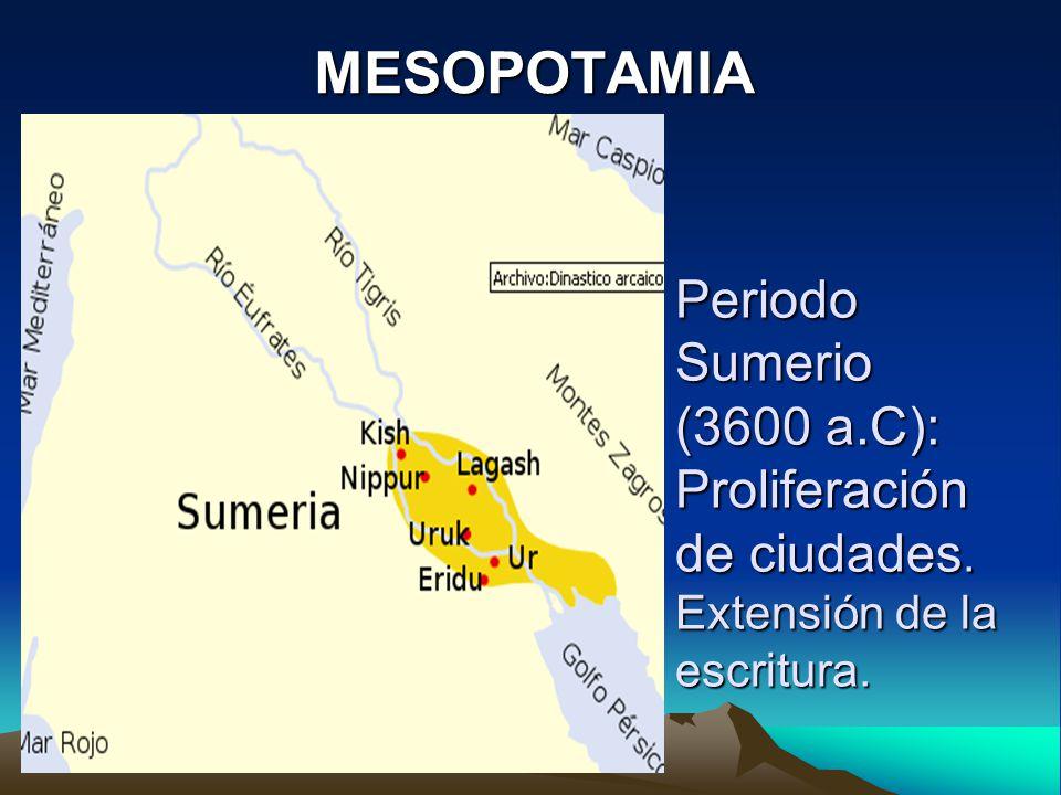 Periodo Sumerio (3600 a.C): Proliferación de ciudades. Extensión de la escritura. MESOPOTAMIA