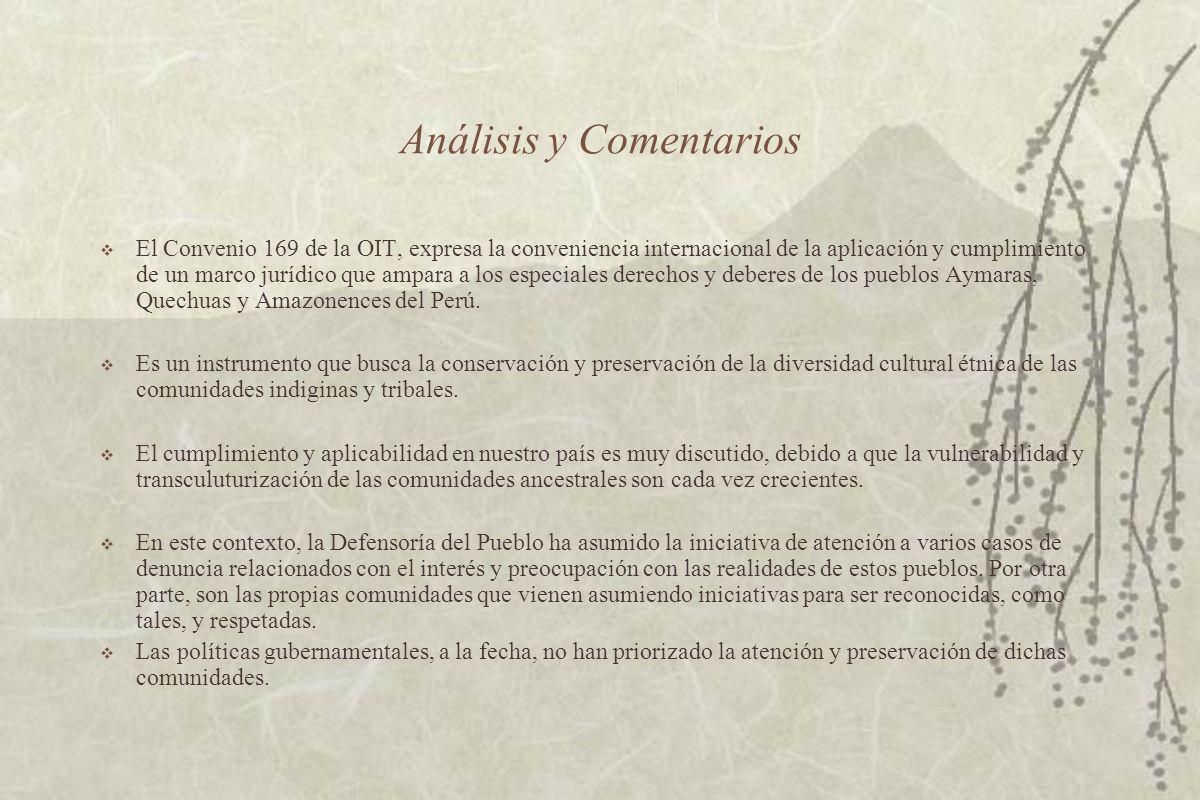 Análisis y Comentarios El Convenio 169 de la OIT, expresa la conveniencia internacional de la aplicación y cumplimiento de un marco jurídico que ampara a los especiales derechos y deberes de los pueblos Aymaras, Quechuas y Amazonences del Perú.