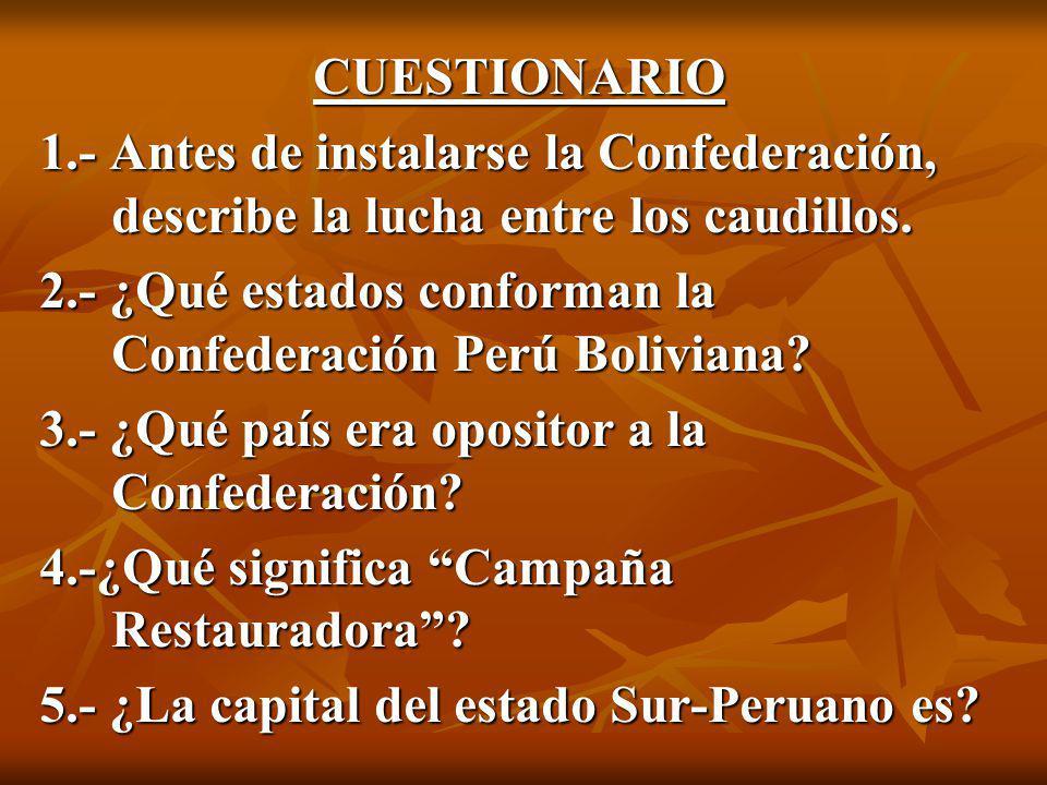 CUESTIONARIO 1.- Antes de instalarse la Confederación, describe la lucha entre los caudillos.