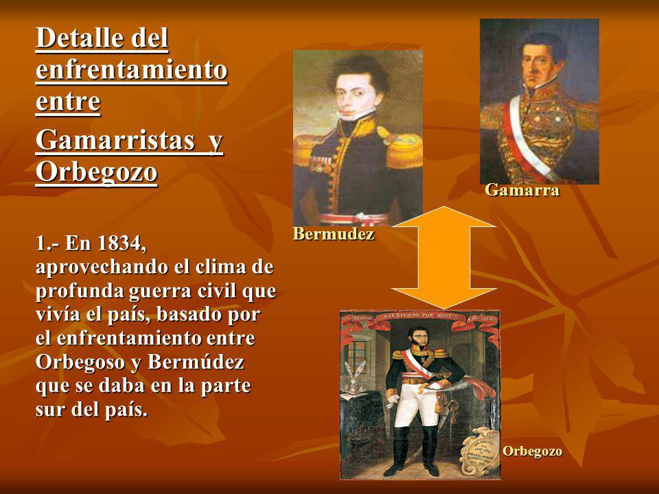 2.- Salaverry, que participaba en las huestes de Orbegoso, se separó de él y fue a la zona norte donde se sublevó en Trujillo y el 23 de febrero de 1835 se autonombró Legislador Supremo.