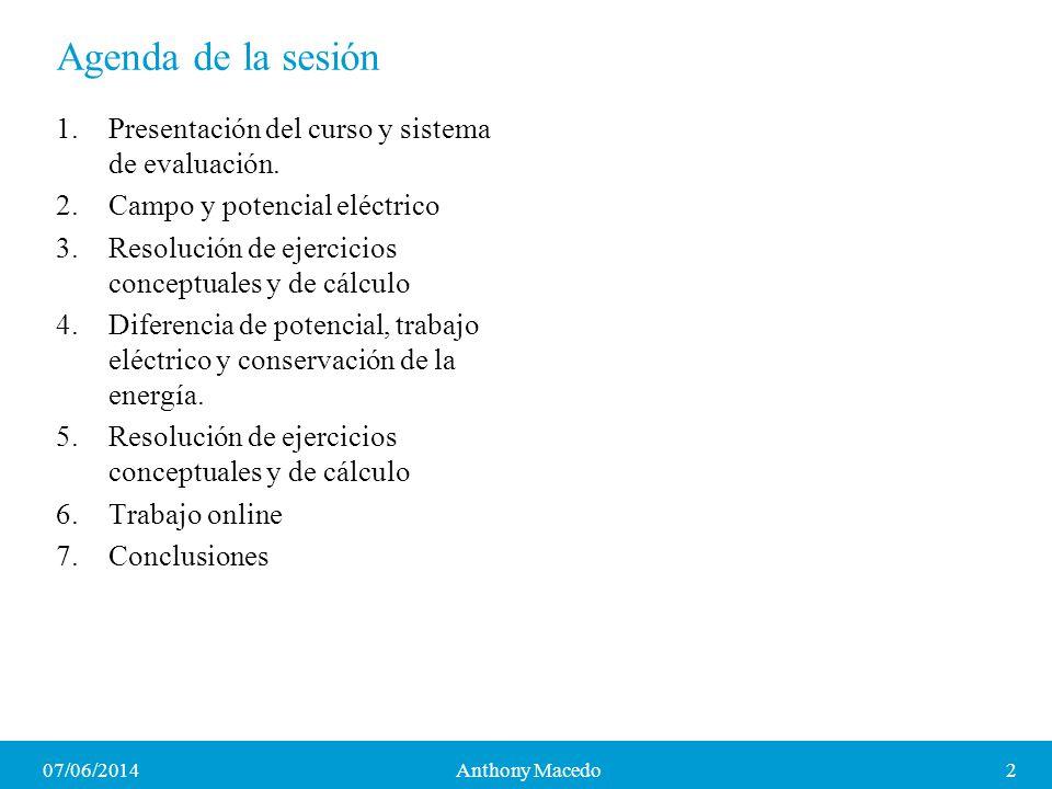 07/06/20142Anthony Macedo Agenda de la sesión 1.Presentación del curso y sistema de evaluación. 2.Campo y potencial eléctrico 3.Resolución de ejercici