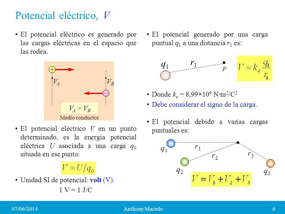 07/06/20147Anthony Macedo Diferencia de potencial y conservación de la energía El trabajo hecho por la fuerza eléctrica para llevar una carga q 0 desde a hasta b es: Donde V = V a V b es la diferencia de potencial (voltaje).