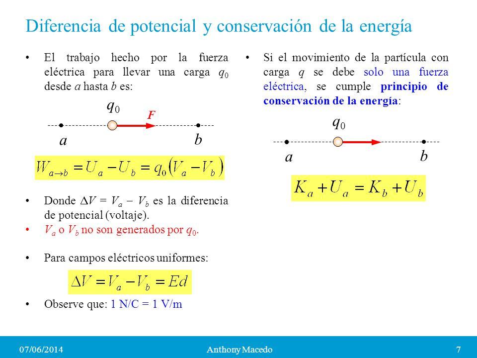 07/06/20147Anthony Macedo Diferencia de potencial y conservación de la energía El trabajo hecho por la fuerza eléctrica para llevar una carga q 0 desd