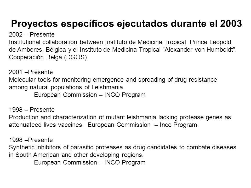 Proyectos específicos ejecutados durante el 2003 2002 – Presente Institutional collaboration between Instituto de Medicina Tropical Prince Leopold de Amberes, Bélgica y el Instituto de Medicina Tropical Alexander von Humboldt.