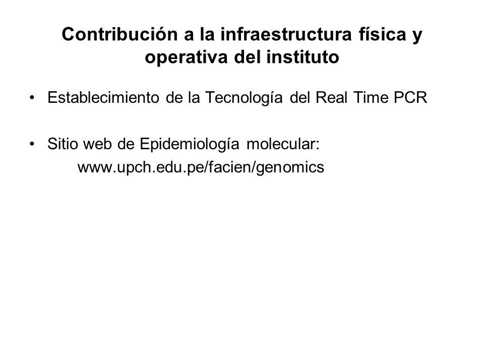 Contribución a la infraestructura física y operativa del instituto Establecimiento de la Tecnología del Real Time PCR Sitio web de Epidemiología molecular: www.upch.edu.pe/facien/genomics