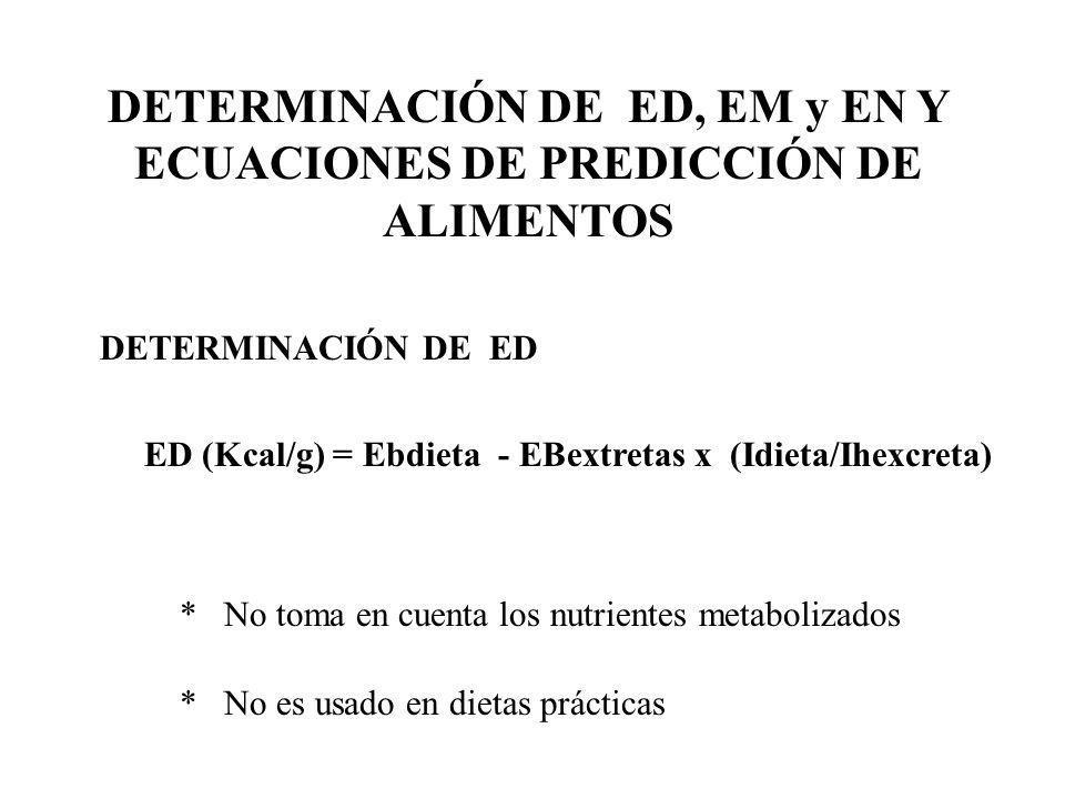 DETERMINACIÓN DE EM EN DIETAS (AVES) EM(kcal/g) = EB dieta – EBheces/dieta – 8.22xNret./dieta EBheces/dieta = EBhecesx(Id/Ih) Nret./dieta = Ndieta – Nhecesx(Id/Ih) * Cuantifica la EM de las dietas