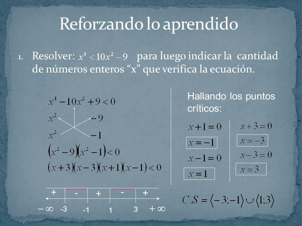 1. Resolver: para luego indicar la cantidad de números enteros x que verifica la ecuación. Hallando los puntos críticos: 3 1 -3 + - + + -