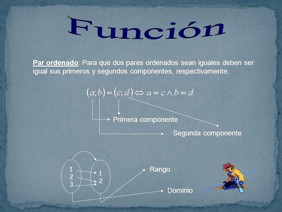 Par ordenado: Para que dos pares ordenados sean iguales deben ser igual sus primeros y segundos componentes, respectivamente.
