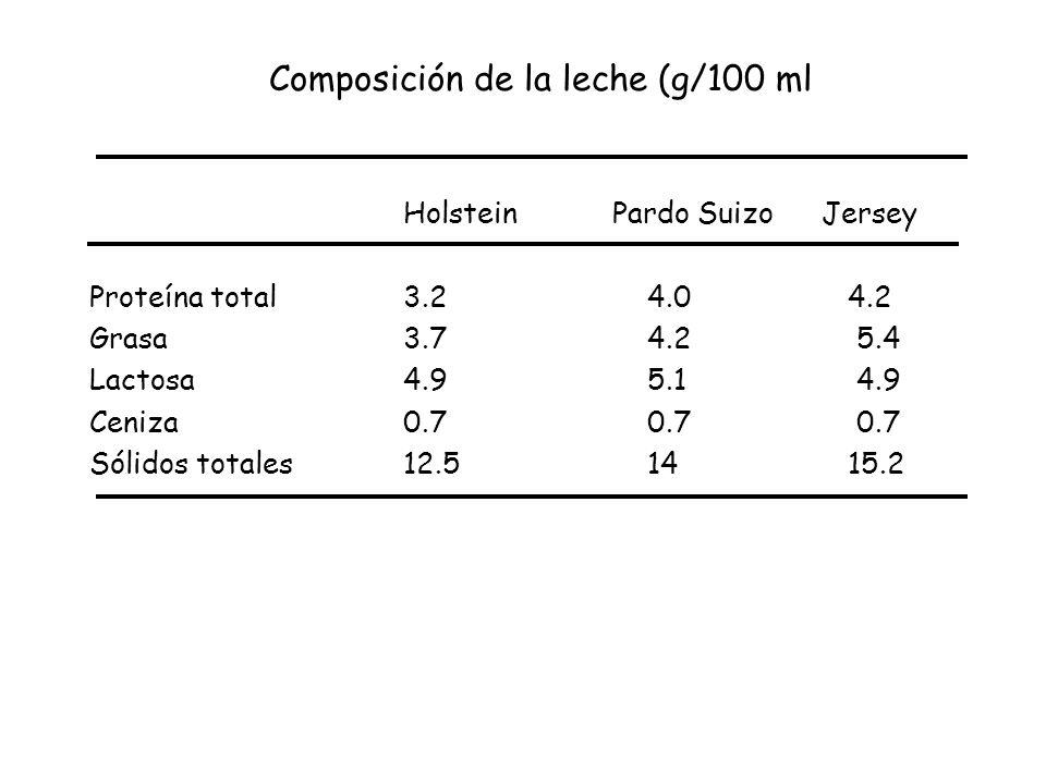 Composición de la leche (g/100 ml HolsteinPardo SuizoJersey Proteína total 3.2 4.0 4.2 Grasa3.7 4.2 5.4 Lactosa 4.9 5.1 4.9 Ceniza 0.7 0.7 0.7 Sólidos