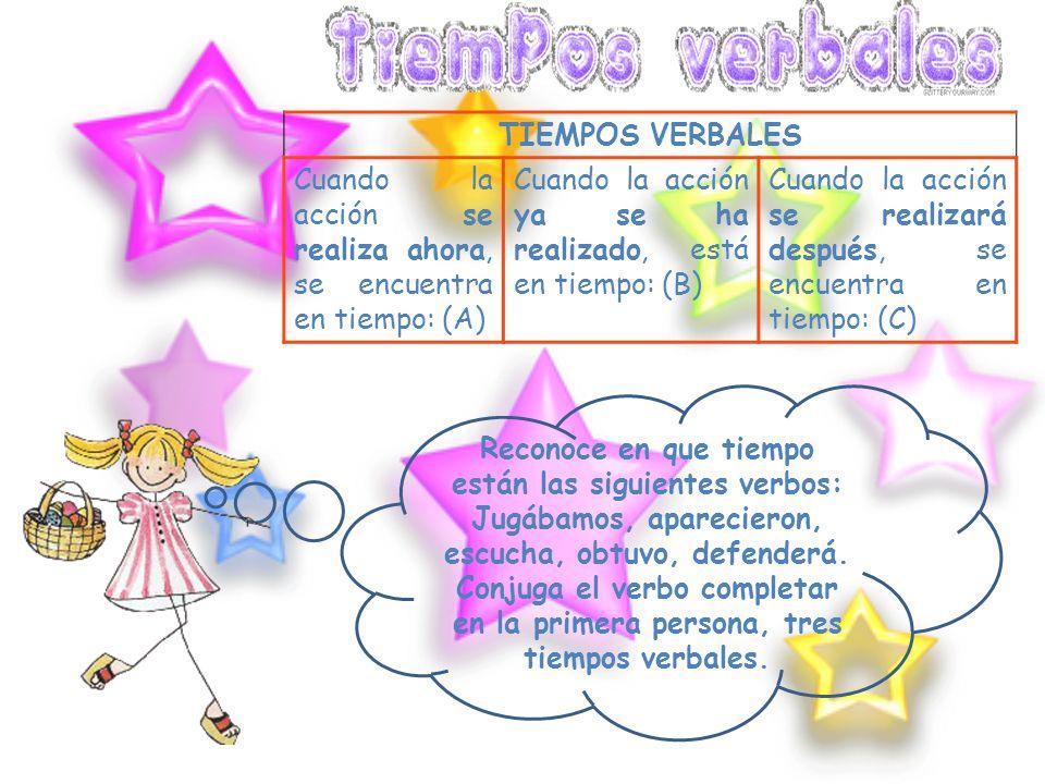 El verbo es una palabra que indica acción o estado. Escribe cinco verbos que indique acción y cinco que indiquen estado. Indica cuál de las siguientes