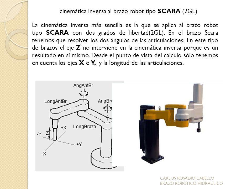 La cinemática inversa más sencilla es la que se aplica al brazo robot tipo SCARA con dos grados de libertad(2GL). En el brazo Scara tenemos que resolv
