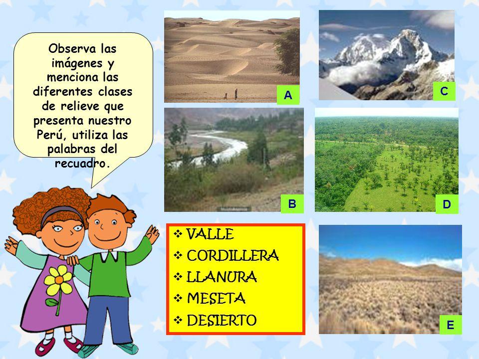 Observa las imágenes y menciona las diferentes clases de relieve que presenta nuestro Perú, utiliza las palabras del recuadro. VALLE CORDILLERA LLANUR