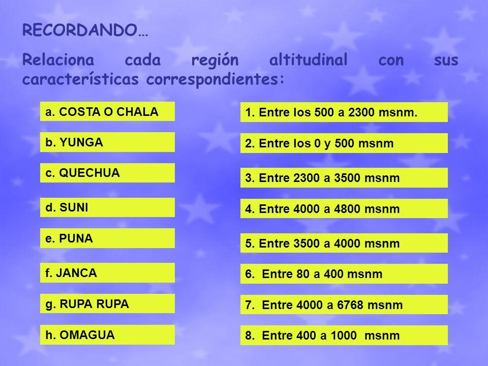 RECORDANDO… Relaciona cada región altitudinal con sus características correspondientes: a. COSTA O CHALA b. YUNGA c. QUECHUA d. SUNI e. PUNA f. JANCA