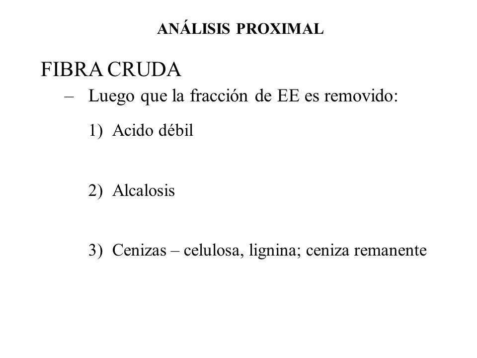 FIBRA CRUDA –Luego que la fracción de EE es removido: 1)Acido débil 2)Alcalosis 3)Cenizas – celulosa, lignina; ceniza remanente ANÁLISIS PROXIMAL
