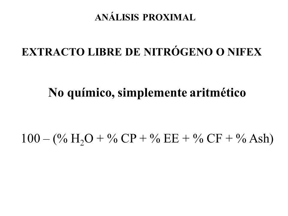 EXTRACTO LIBRE DE NITRÓGENO O NIFEX No químico, simplemente aritmético 100 – (% H 2 O + % CP + % EE + % CF + % Ash) ANÁLISIS PROXIMAL