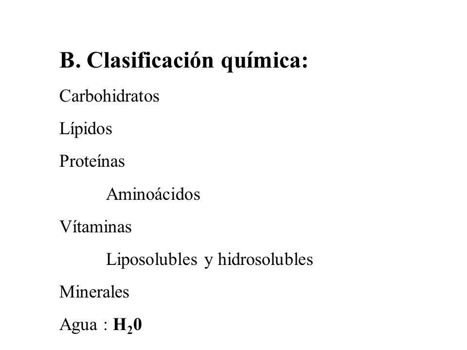 B. Clasificación química: Carbohidratos Lípidos Proteínas Aminoácidos Vítaminas Liposolubles y hidrosolubles Minerales Agua : H 2 0