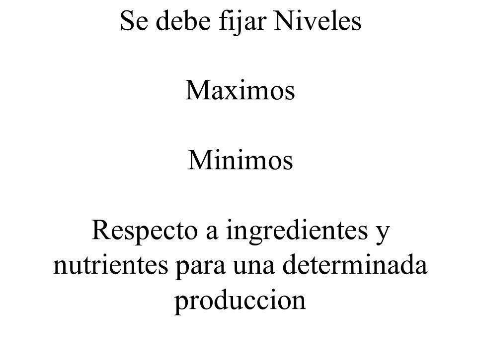 Se debe fijar Niveles Maximos Minimos Respecto a ingredientes y nutrientes para una determinada produccion