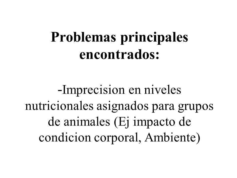 Problemas principales encontrados: - Imprecision en niveles nutricionales asignados para grupos de animales (Ej impacto de condicion corporal, Ambient