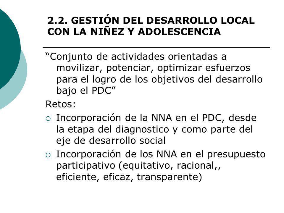 2.2. GESTIÓN DEL DESARROLLO LOCAL CON LA NIÑEZ Y ADOLESCENCIA Conjunto de actividades orientadas a movilizar, potenciar, optimizar esfuerzos para el l