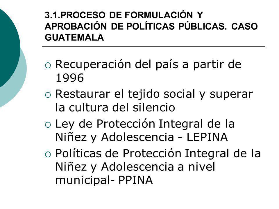 3.1.PROCESO DE FORMULACIÓN Y APROBACIÓN DE POLÍTICAS PÚBLICAS. CASO GUATEMALA Recuperación del país a partir de 1996 Restaurar el tejido social y supe