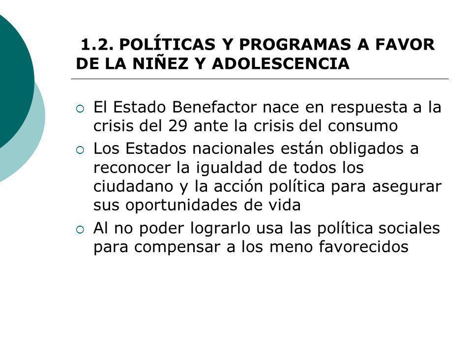 1.2. POLÍTICAS Y PROGRAMAS A FAVOR DE LA NIÑEZ Y ADOLESCENCIA El Estado Benefactor nace en respuesta a la crisis del 29 ante la crisis del consumo Los
