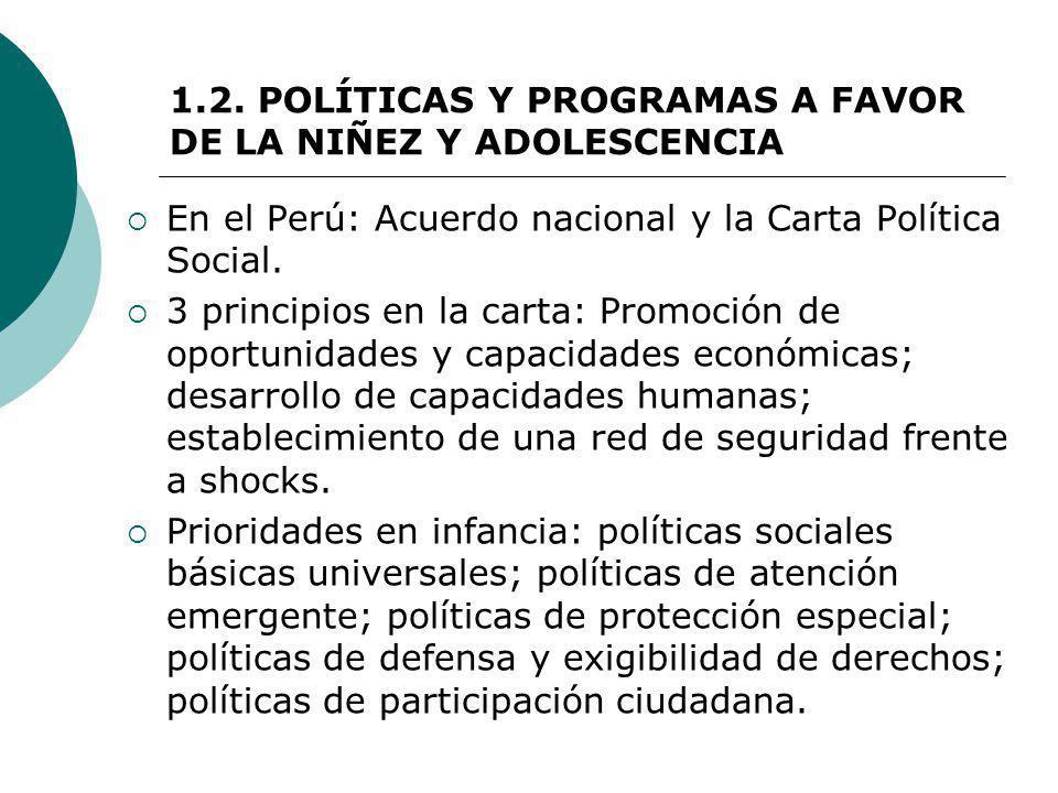 1.2. POLÍTICAS Y PROGRAMAS A FAVOR DE LA NIÑEZ Y ADOLESCENCIA En el Perú: Acuerdo nacional y la Carta Política Social. 3 principios en la carta: Promo