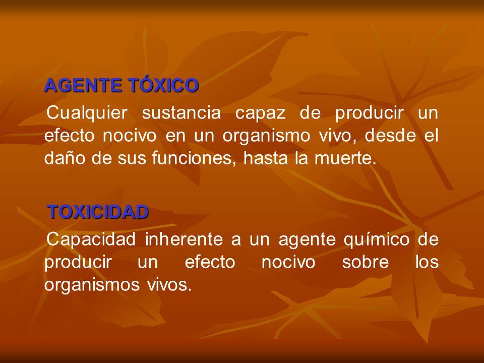 AGENTE TÓXICO AGENTE TÓXICO Cualquier sustancia capaz de producir un efecto nocivo en un organismo vivo, desde el daño de sus funciones, hasta la muer