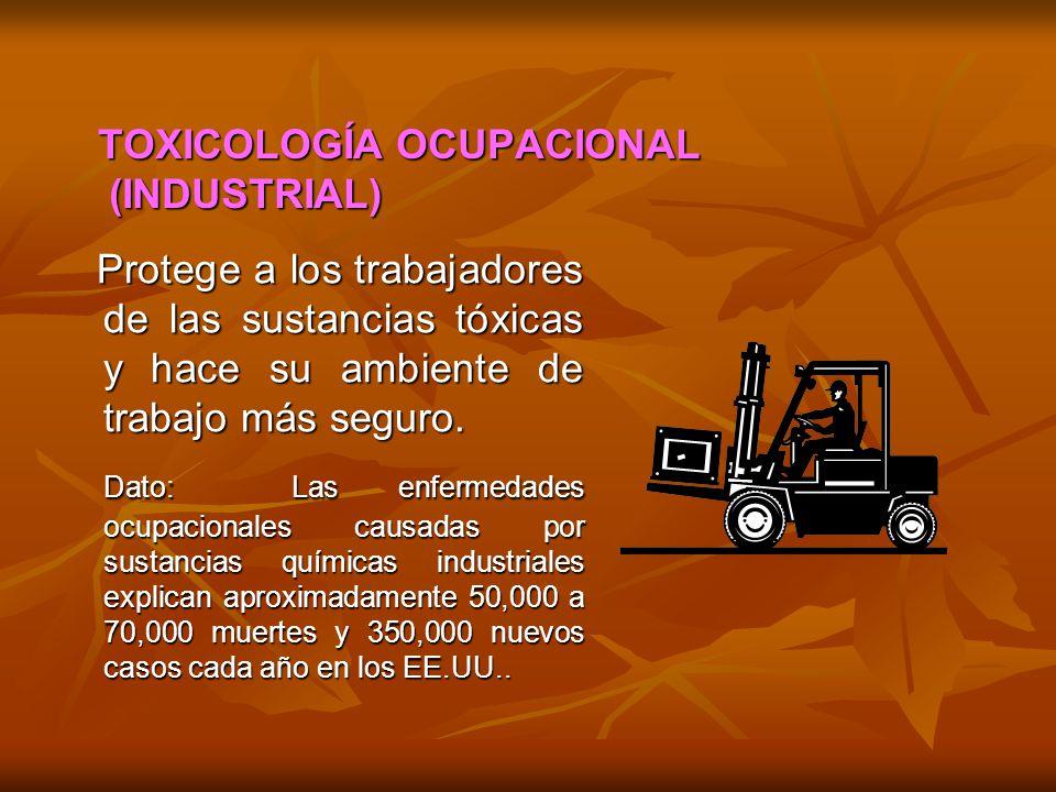 TOXICOLOGÍA OCUPACIONAL (INDUSTRIAL) (INDUSTRIAL) Protege a los trabajadores de las sustancias tóxicas y hace su ambiente de trabajo más seguro. Prote