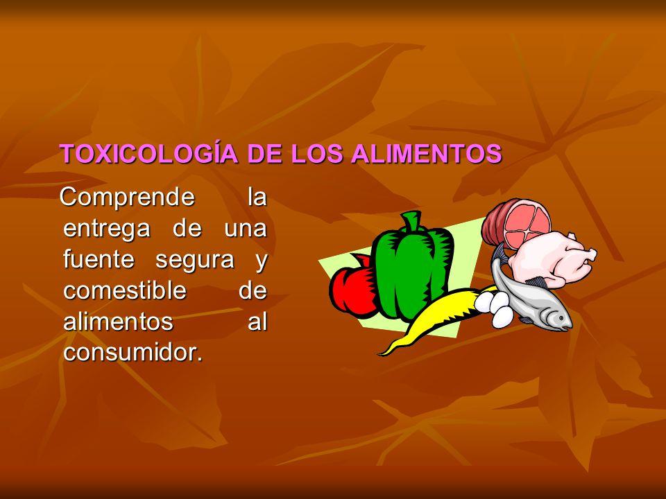 TOXICOLOGÍA DE LOS ALIMENTOS Comprende la entrega de una fuente segura y comestible de alimentos al consumidor. Comprende la entrega de una fuente seg