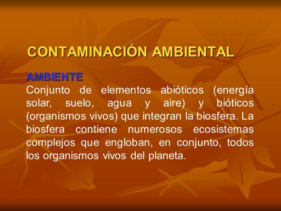 AMBIENTE Conjunto de elementos abióticos (energía solar, suelo, agua y aire) y bióticos (organismos vivos) que integran la biosfera. La biosfera conti