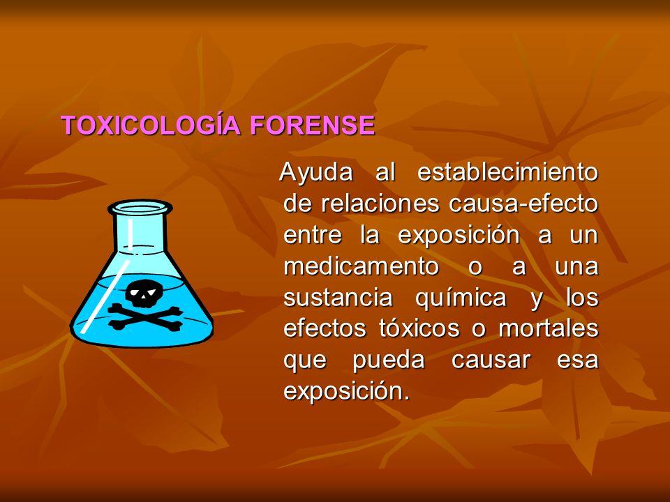 Ayuda al establecimiento de relaciones causa-efecto entre la exposición a un medicamento o a una sustancia química y los efectos tóxicos o mortales qu