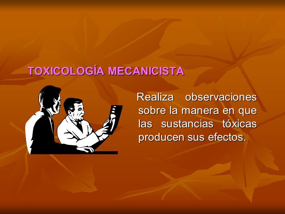 TOXICOLOGÍA MECANICISTA Realiza observaciones sobre la manera en que las sustancias tóxicas producen sus efectos. Realiza observaciones sobre la maner