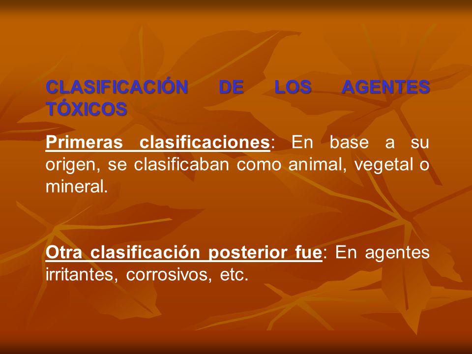 CLASIFICACIÓN DE LOS AGENTES TÓXICOS Primeras clasificaciones: En base a su origen, se clasificaban como animal, vegetal o mineral. Otra clasificación