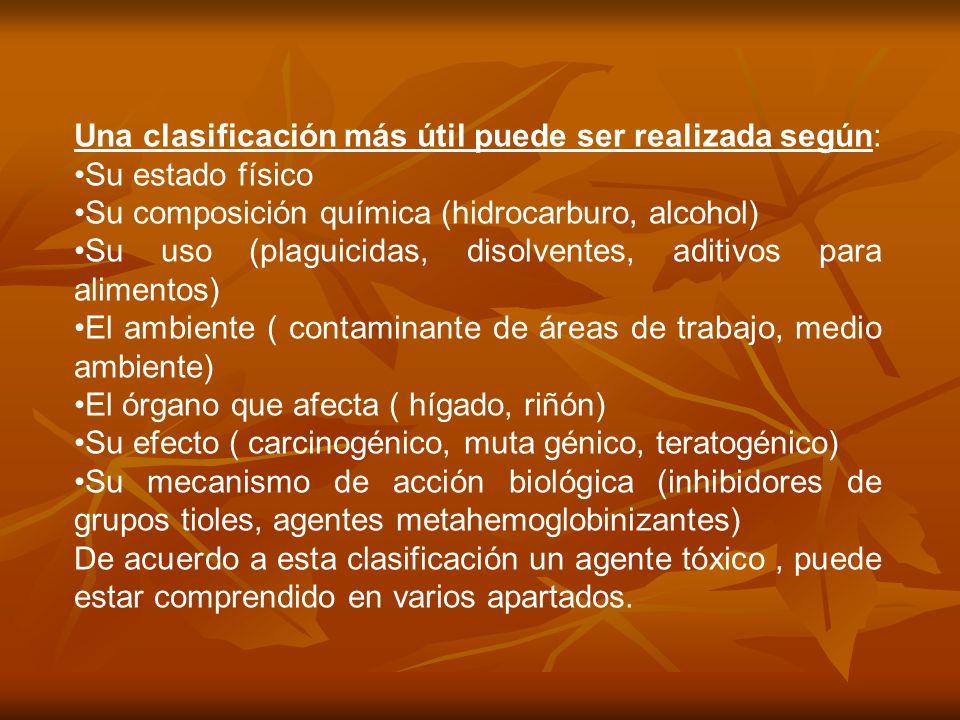 Una clasificación más útil puede ser realizada según: Su estado físico Su composición química (hidrocarburo, alcohol) Su uso (plaguicidas, disolventes