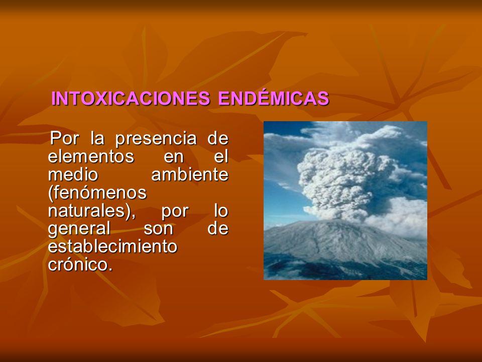 INTOXICACIONES ENDÉMICAS INTOXICACIONES ENDÉMICAS Por la presencia de elementos en el medio ambiente (fenómenos naturales), por lo general son de esta