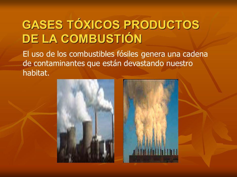 El uso de los combustibles fósiles genera una cadena de contaminantes que están devastando nuestro habitat. GASES TÓXICOS PRODUCTOS DE LA COMBUSTIÓN