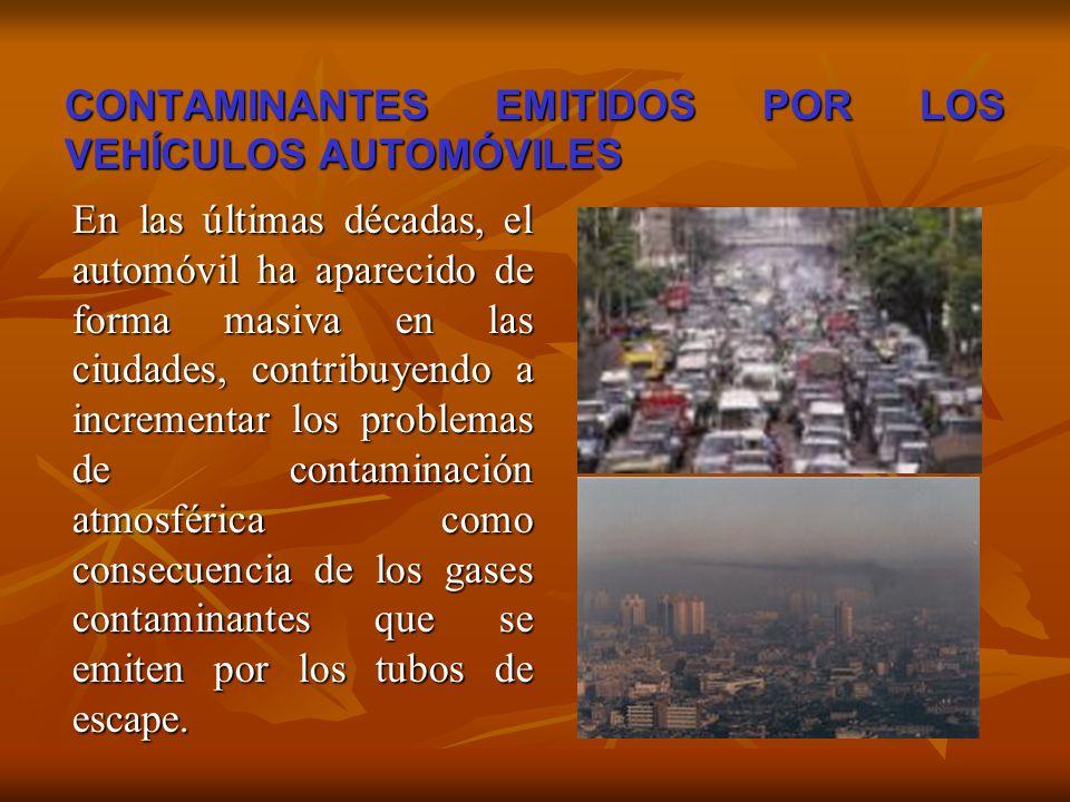 CONTAMINANTES EMITIDOS POR LOS VEHÍCULOS AUTOMÓVILES En las últimas décadas, el automóvil ha aparecido de forma masiva en las ciudades, contribuyendo