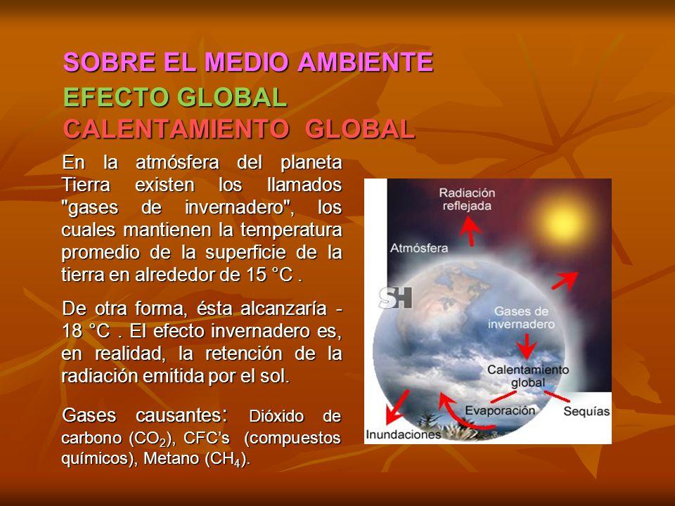 SOBRE EL MEDIO AMBIENTE EFECTO GLOBAL CALENTAMIENTO GLOBAL En la atmósfera del planeta Tierra existen los llamados