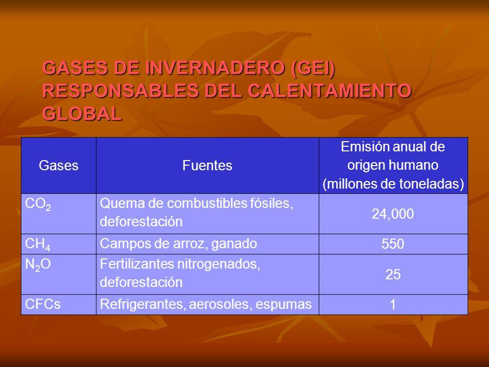 GasesFuentes Emisión anual de origen humano (millones de toneladas) CO 2 Quema de combustibles fósiles, deforestación 24,000 CH 4 Campos de arroz, gan