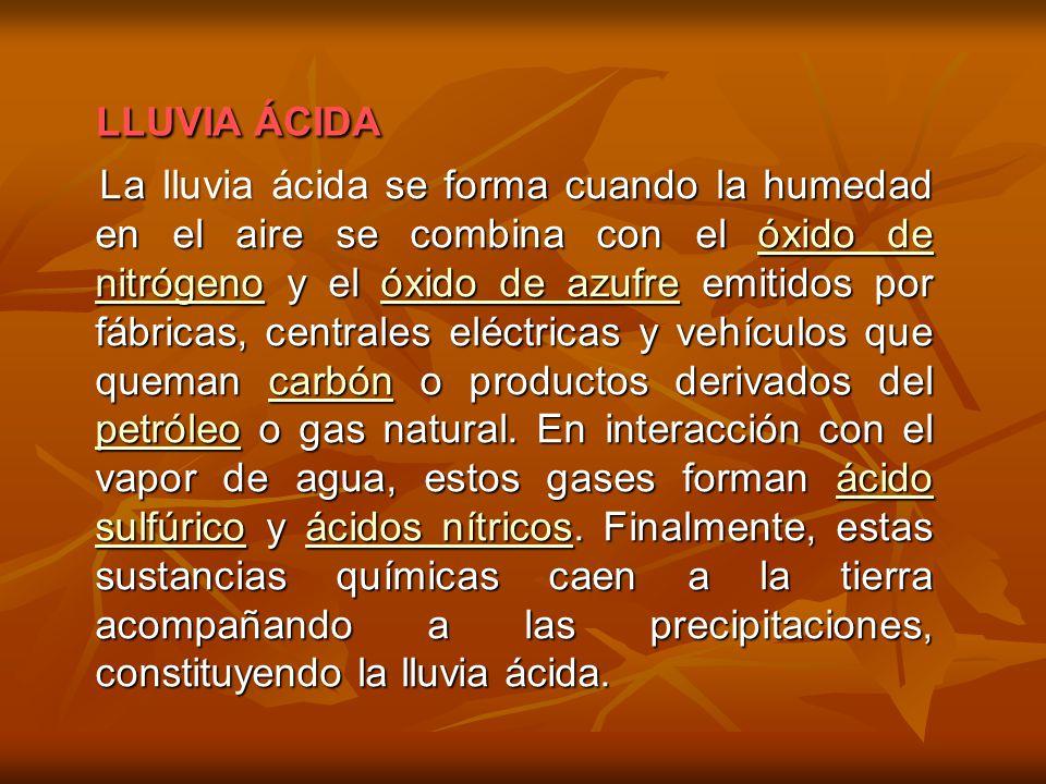 LLUVIA ÁCIDA LLUVIA ÁCIDA La lluvia ácidase forma cuando la humedad en el aire se combina con el óxido de nitrógeno y el óxido de azufre emitidos por