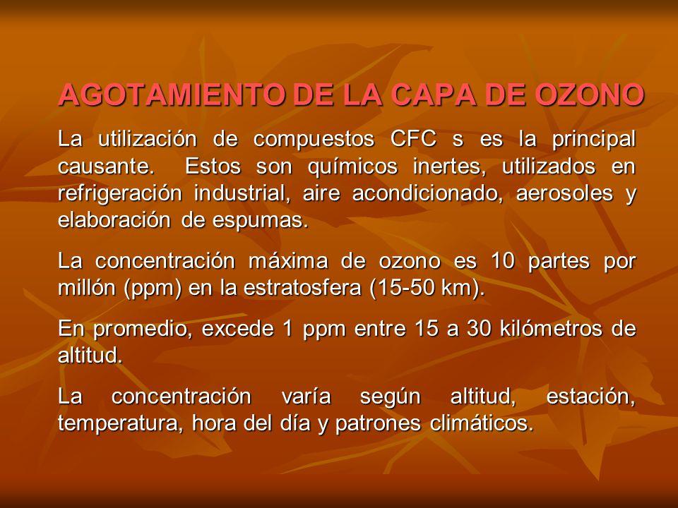 AGOTAMIENTO DE LA CAPA DE OZONO La utilización de compuestos CFC s es la principal causante. Estos son químicos inertes, utilizados en refrigeración i