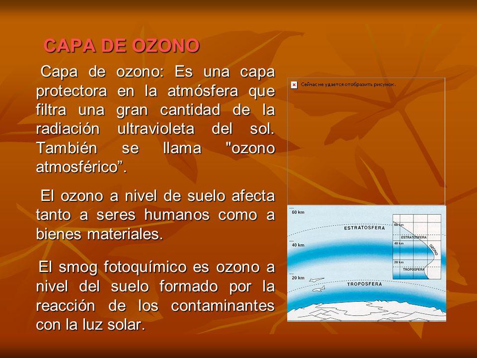 CAPA DE OZONO Capa de ozono: Es una capa protectora en la atmósfera que filtra una gran cantidad de la radiación ultravioleta del sol. También se llam