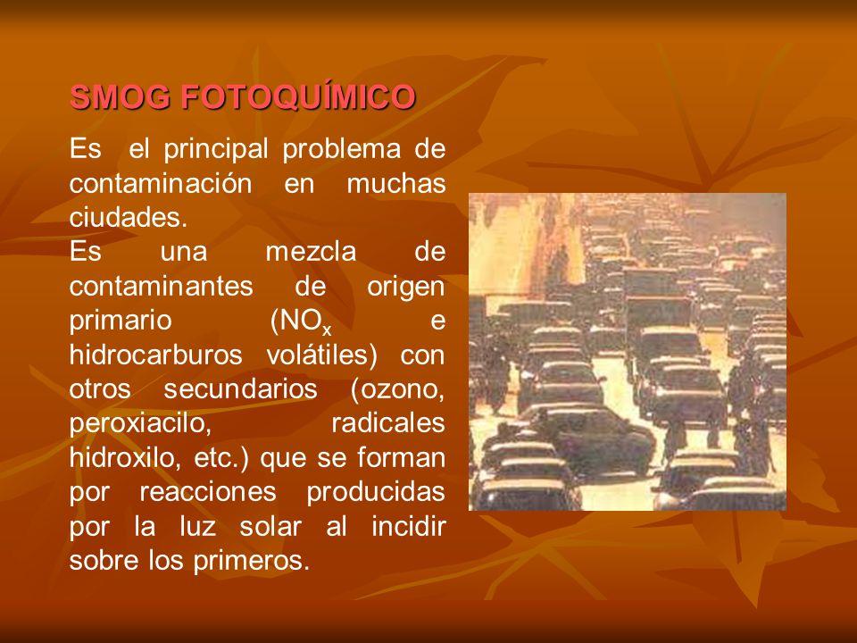 Es el principal problema de contaminación en muchas ciudades. Es una mezcla de contaminantes de origen primario (NO x e hidrocarburos volátiles) con o
