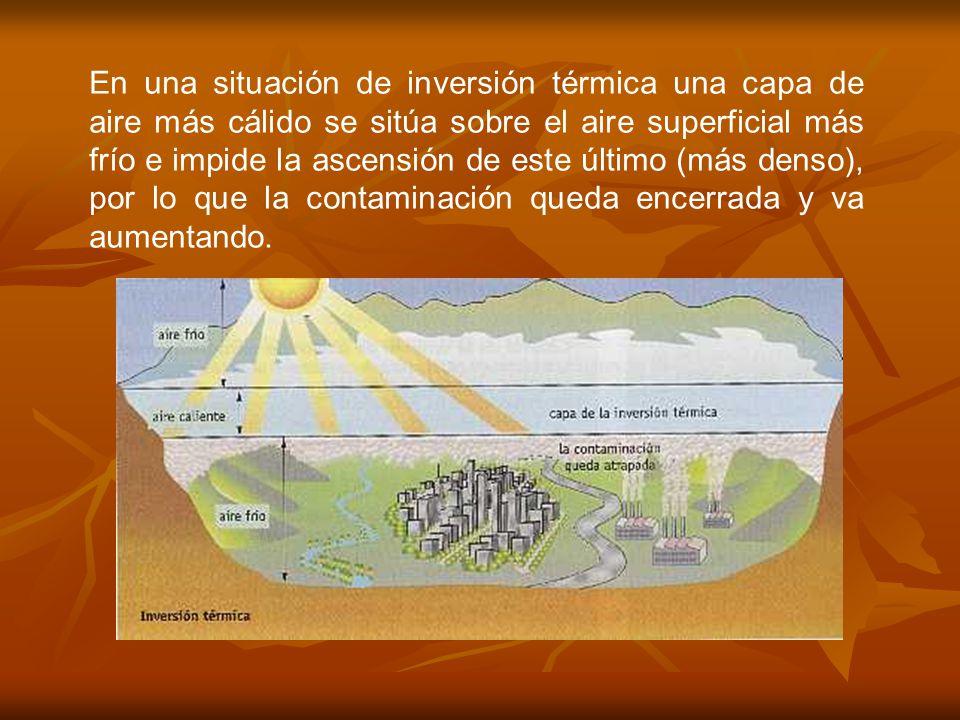 En una situación de inversión térmica una capa de aire más cálido se sitúa sobre el aire superficial más frío e impide la ascensión de este último (má