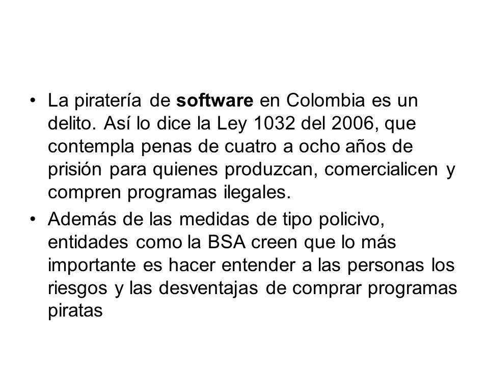 La piratería de software en Colombia es un delito.